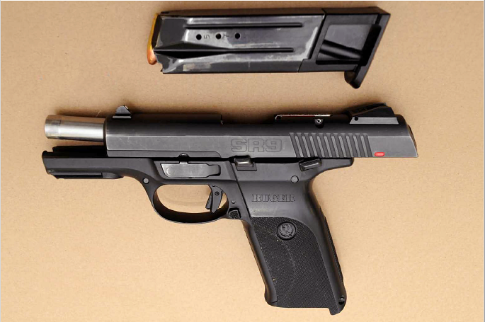 This handgun, allegedly purchased by Brady Fisher, was seized during an Edmonton Police Service drug investigation in June 2019.